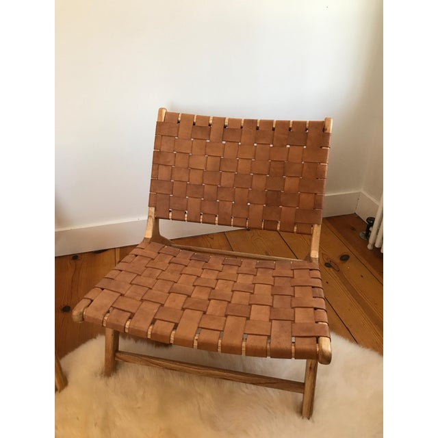 Contemporary Woven Leather Lounge Chair For Sale - Image 3 of 8