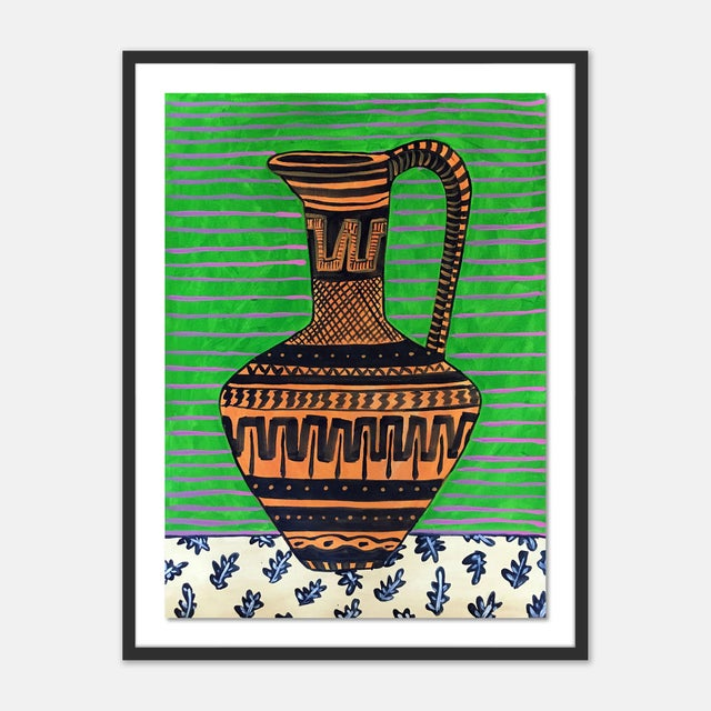 Contemporary Greek Pitcher by Jelly Chen in Black Framed Paper, Small Art Print For Sale - Image 3 of 3