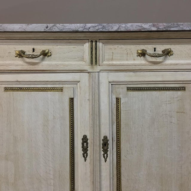19th Century French Louis XVI Marble Top Stripped Oak Buffet With Ormolu Bronze For Sale - Image 10 of 12