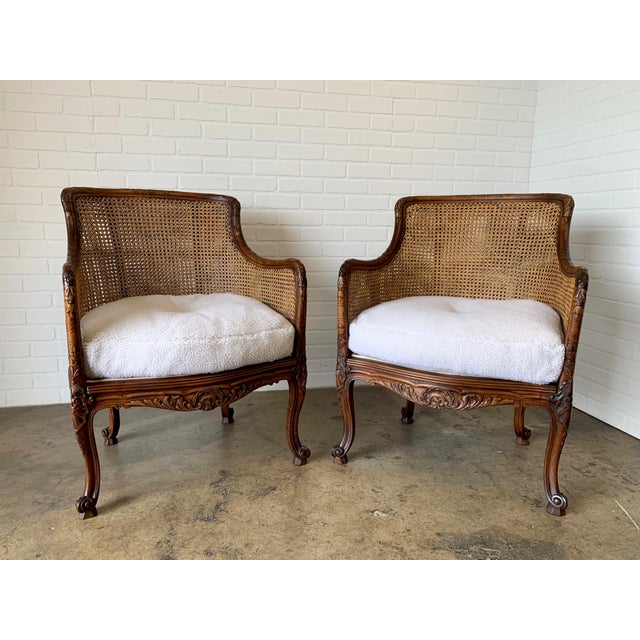 Curved Double Cane Lounge Chairs- a Pair For Sale - Image 13 of 13