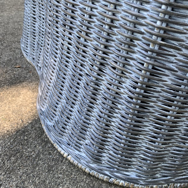 Metal Trompe l'Oeil Round Top Draped Grey Rattan Side Table For Sale - Image 7 of 12