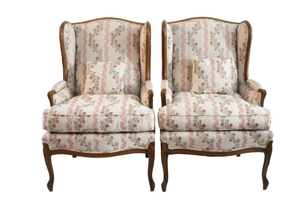 Floral U0026 Purple Velvet Wingback Chairs   A Pair