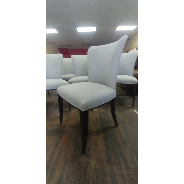 Wood Henredon Furniture Barbara Barry Bowmont Light Grey Dining Chairs - Set of 6 For Sale - Image 7 of 13