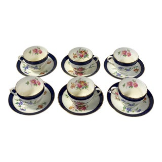 Set of 6 Cup & Saucer Set by Coalport England 1920's For Sale