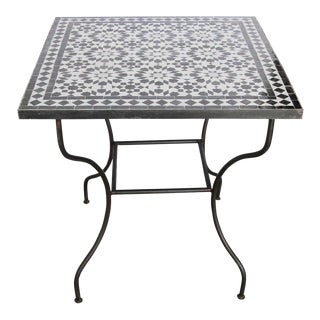Moroccan Fez Mosaic Table in Black and White Tiles For Sale