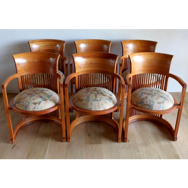 "Incredible set of solid natural cherry Frank Lloyd Wright Taliesin barrel ""606"" chairs. These are the from the extremely..."