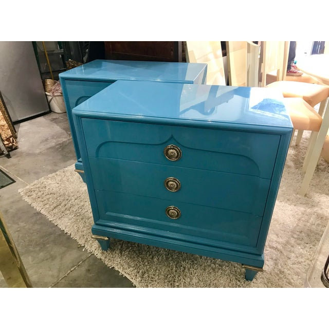 1970s Mid-Century Modern Mastercraft Sky Blue Chests - a Pair For Sale - Image 9 of 9