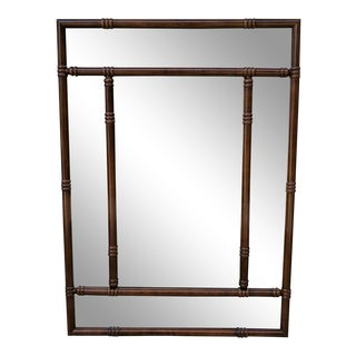 Vintage Wooden Faux Bamboo Mirror For Sale