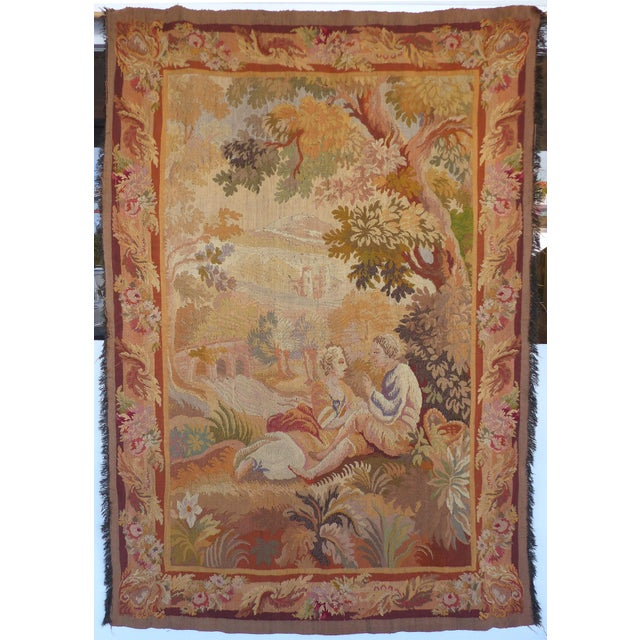 European Aubusson Style Hand Woven Wall Tapestry For Sale - Image 11 of 11