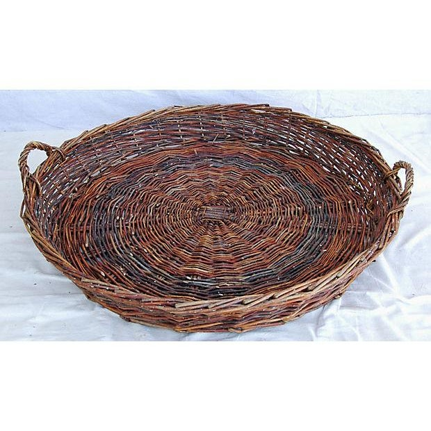 Large French Woven Willow Grape Harvest Basket - Image 6 of 9