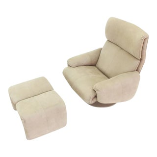 Beige Suede Leather Lounge Chair with Matching Ottoman