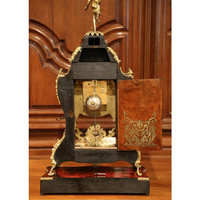Mid-20th Century French Tortoiseshell and Bronze Boulle Mantel Clock With Base For Sale - Image 9 of 11