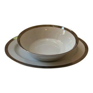 Ralph Lauren Academy Platinum Serving Platter & Bowl - Set of 2 For Sale