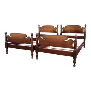 Mahogany Kling Pineapple Twin Beds- a Pair For Sale