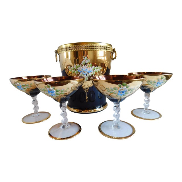 Vintage Amethyst Bohemian Glass Ice Bucket and Champagne Coupes - Set of 5 For Sale