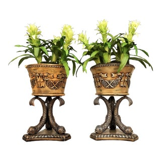 Koi Fish Pedestal Planters With Faux Floral Bromeliads- a Pair For Sale
