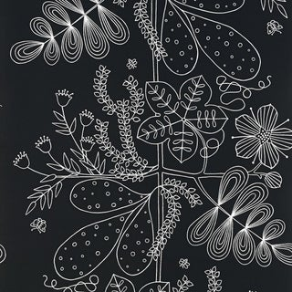 Sample - Schumacher Blommen Wallpaper in Ebony For Sale