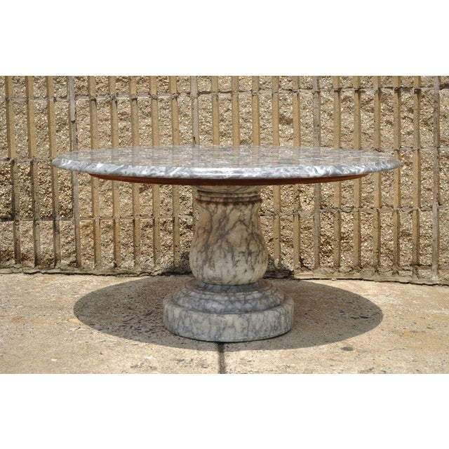 Mid 20th Century Vintage Decorator Hollywood Regency Italian Grey Marble Round Coffee Table For Sale - Image 5 of 8