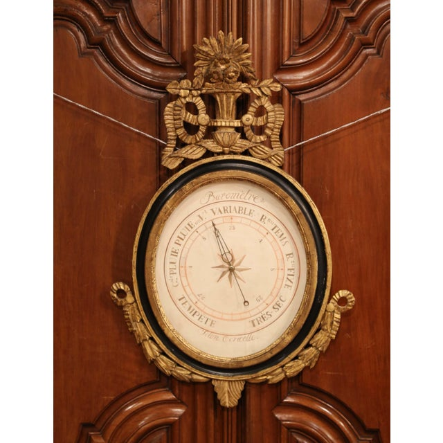 Mid 18th Century Mid-18th Century French Louis XVI Carved Giltwood Wall Barometer Selon Toricelli For Sale - Image 5 of 8