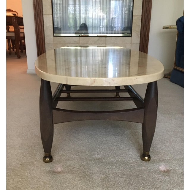 Mid-Century Marble Top Coffee Table - Image 4 of 8
