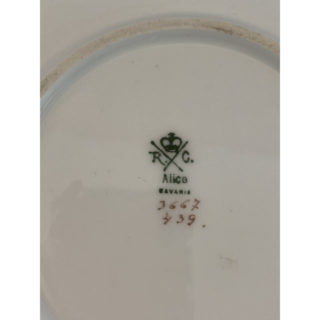 Pink Late 19th Century Antique R. C. Crown Bavaria Plate For Sale - Image 8 of 9