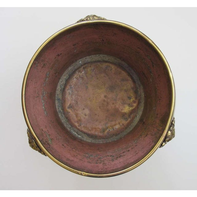 Mid 19th Century A Rare Imperial Russian Hand-Hammered Brass Jardiniere w/Lion Head Mounts For Sale - Image 5 of 6