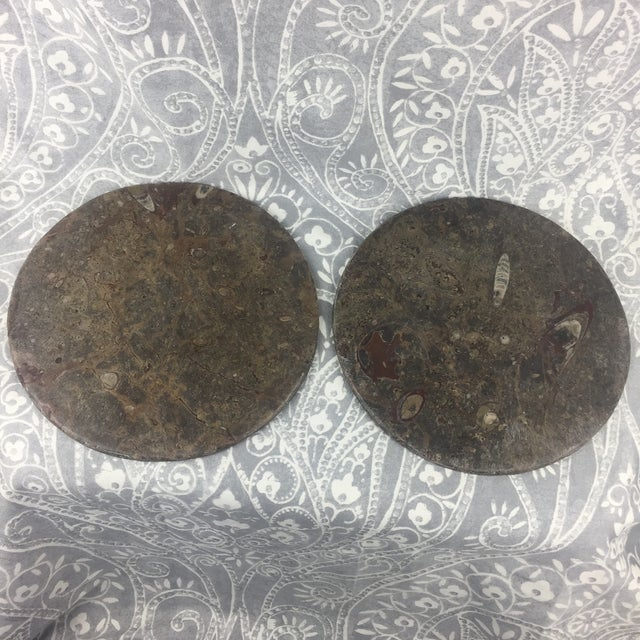 Late 20th Century Orthoceras Red Brown Fossil Stone Plates- a Pair For Sale - Image 5 of 12