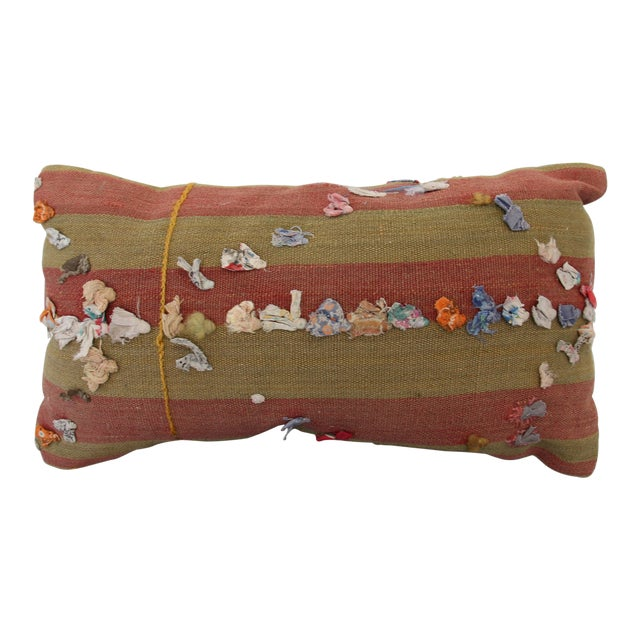 Vintage Turkish Rug Tassel Pillow For Sale