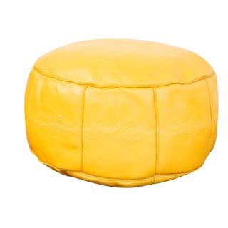 Antique Leather Moroccan Pouf Ottoman, Fly Yellow