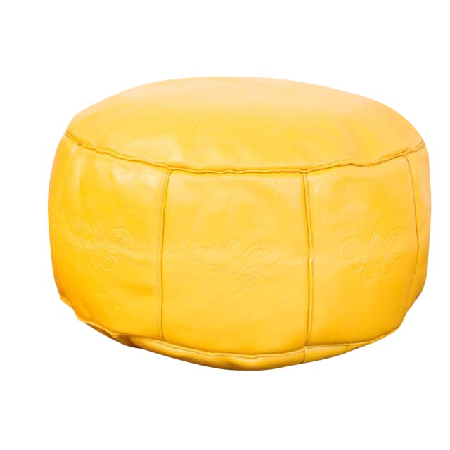 Antique Leather Moroccan Pouf Ottoman, Fly Yellow For Sale