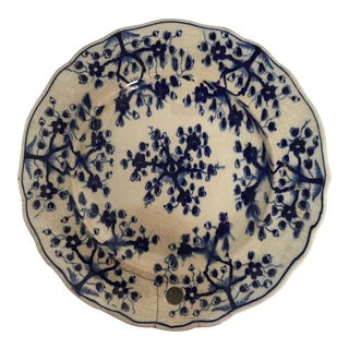 Blue & White Porcelain Hot Water Plate For Sale