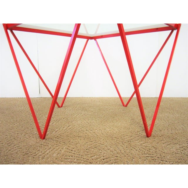 Red 20th Century Modern Red Enamel Side Table For Sale - Image 8 of 13