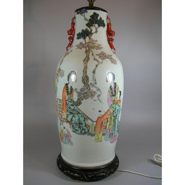 Antique Chinese Famille-Rose Glazed Table Lamp - Image 2 of 11