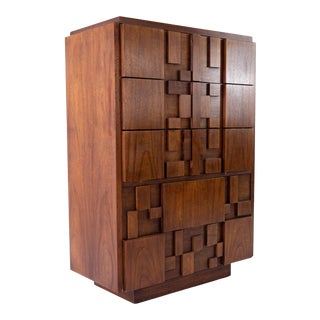 Lane Brutalist Mid Century Walnut 5 Drawer Highboy Dresser For Sale