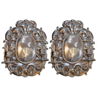 Pair of Bronze Silver Plated Candelabra Sconces For Sale