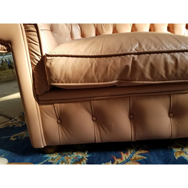 Vintage Mid Century English Chesterfield Leather Sofa For Sale - Image 9 of 13