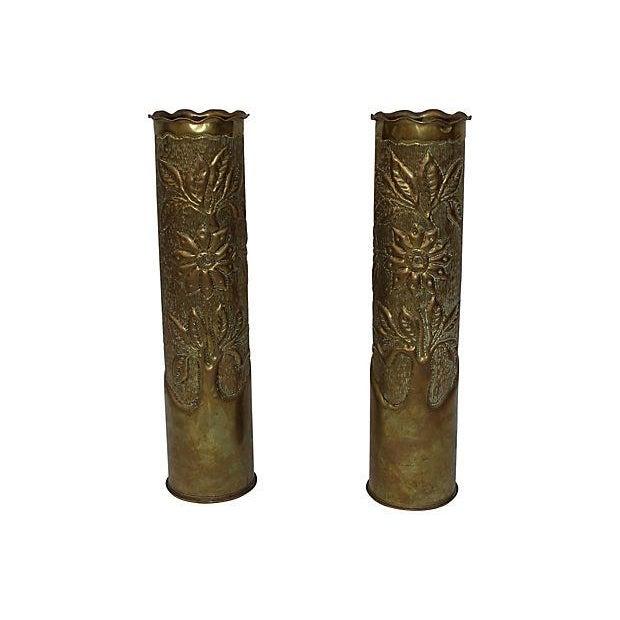 Art Deco Brass Vases - Pair For Sale