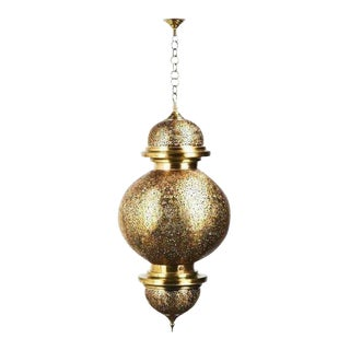 Ball-Shaped Large Moroccan Filigree Brass Chandelier Two Available For Sale