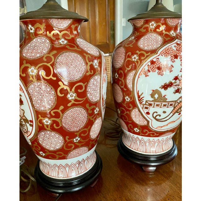 Vintage Gold Imari Red and Gold Lamps - a Pair For Sale - Image 6 of 13