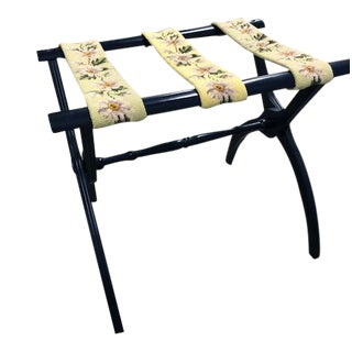 1950's Vintage Luggage Rack With Needlepoint Straps For Sale