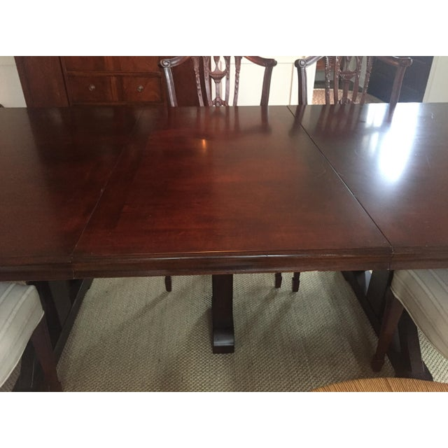 Wood Mahogany Finish Solid Dining Table For Sale - Image 7 of 8