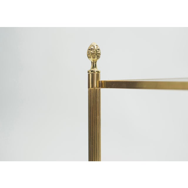 Pair of French Maison Jansen Brass Mirrored Two-Tier End Tables 1960s For Sale - Image 9 of 13