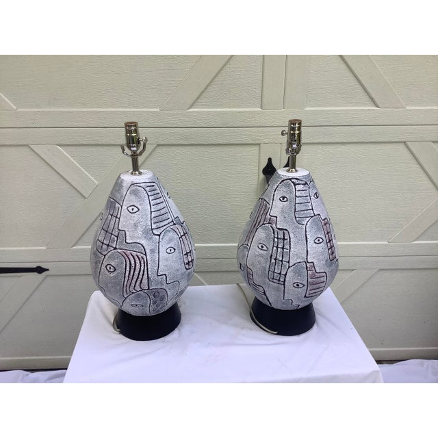 Ceramic Bitossi Midcentury Modern Large Scale Lamps, a Pair For Sale - Image 7 of 11