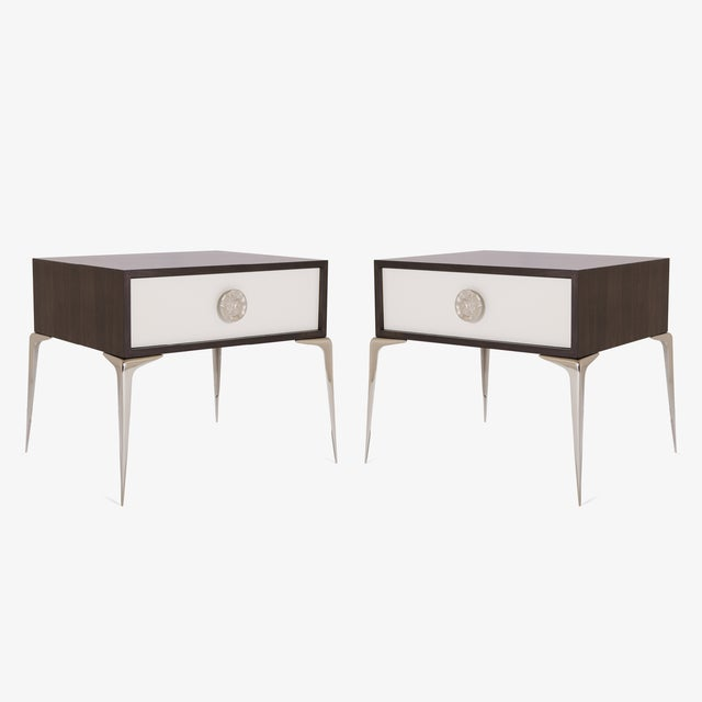 Colette Nickel Nightstands in Ebony & Ivory by Montage, Pair - Image 3 of 9