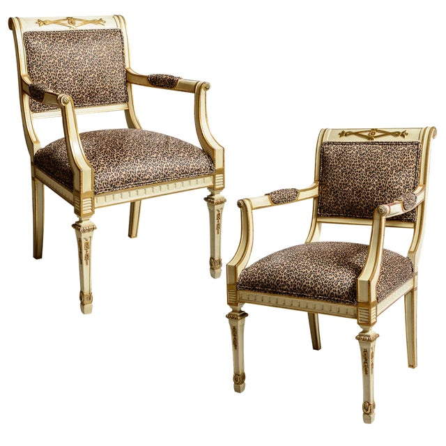 Louis XVI Leopard Upholstered Bergere Chairs - a Pair For Sale
