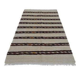 Vintage Natural Stripe Turkish Sisal Kilim Rug - 4′7″ × 7′11″ For Sale