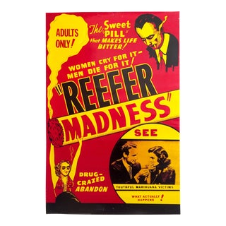 "Vintage "" Reefer Madness "" 1930's Cult Classic Movie Memorabilia Collector's Poster For Sale"