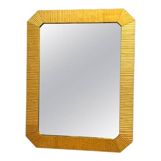 Exceptional Bamboo Modern Mirror With Brass Inner Frame For Sale