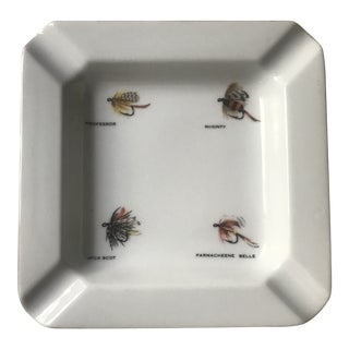 1980s Boho Chic Fly Fishing Flies Ceramic Ashtray