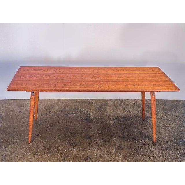 Johannes Hansen Hans J. Wegner JH570 Exapandable Teak Dining Table for Johannes Hansen For Sale - Image 4 of 11